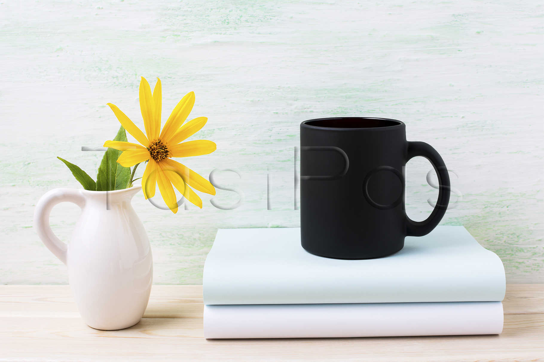 Black coffee mug mockup with yellow rosinweed flowers in pitcher example image 2