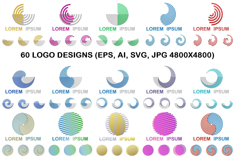60 round geometric logo designs (EPS, AI, SVG, JPG 4800x4800) example image 1