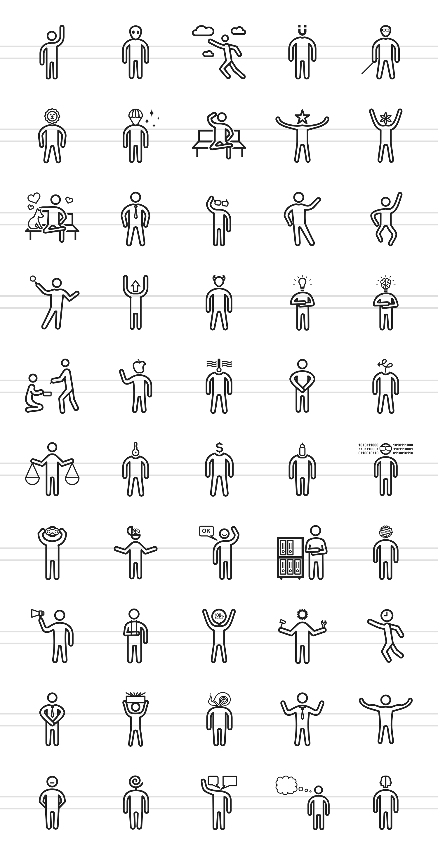 50 Personality Traits Line Icons example image 2