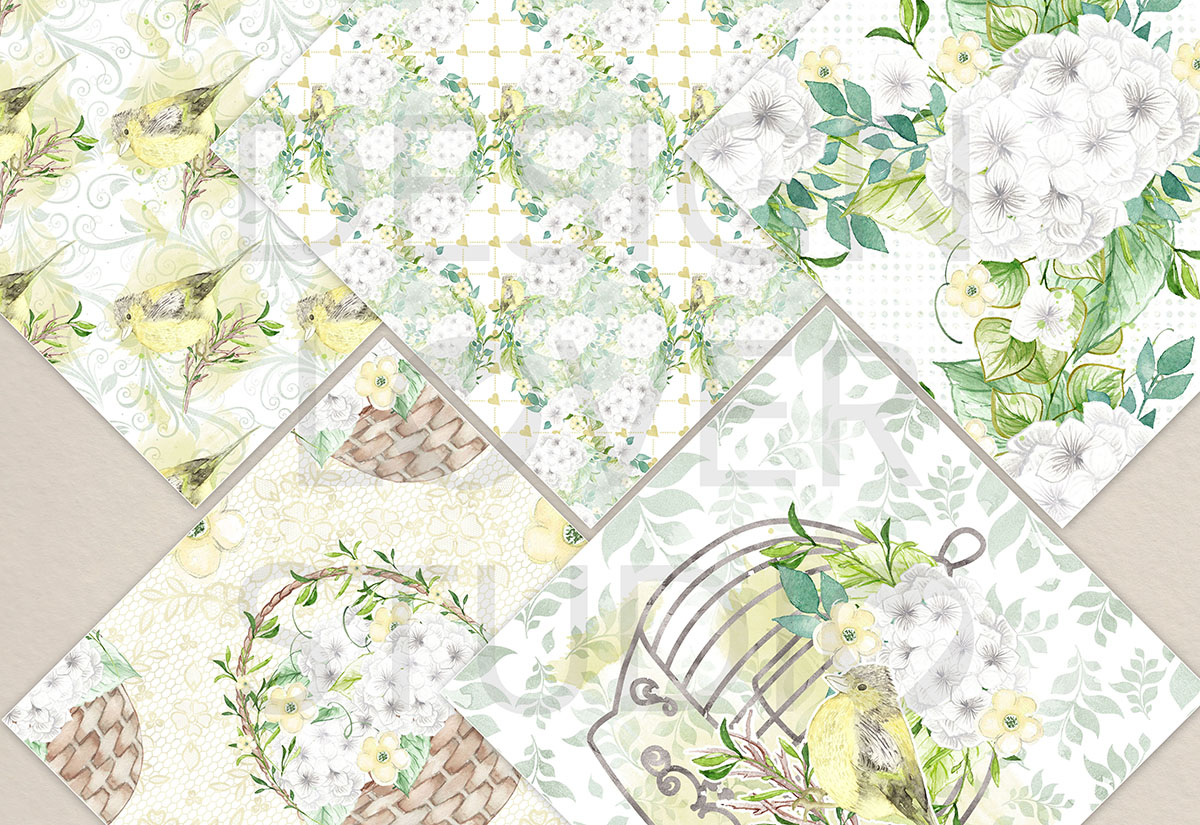 Watercolor White Hydrangea digital paper pack example image 4