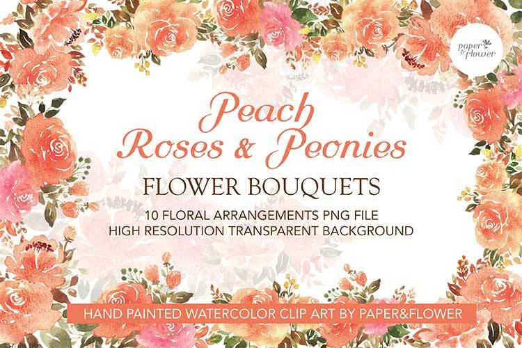 Peach Rose Floral Watercolor Bouquet Set example image 1