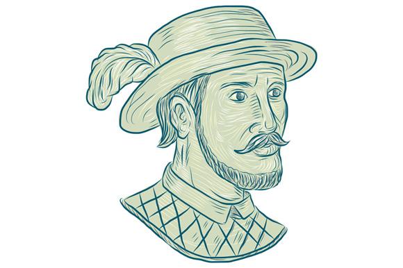Juan Ponce de Leon Explorer Drawing example image 1