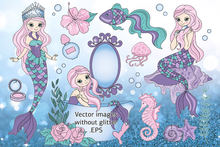 BEAUTIFUL MERMAID Vector Illustration Set example image 4