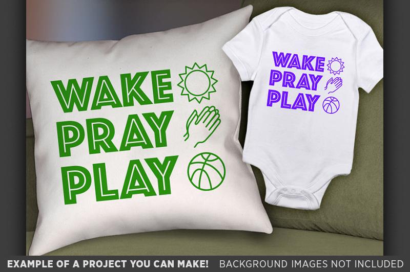 Wake Pray Play SVG - Kids Religious Shirt Design SVG - 1091 example image 2