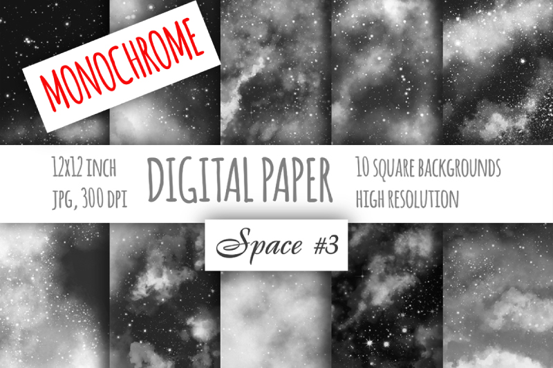 Monochrome watercolor galaxy digital paper. Cloudy textures example image 1
