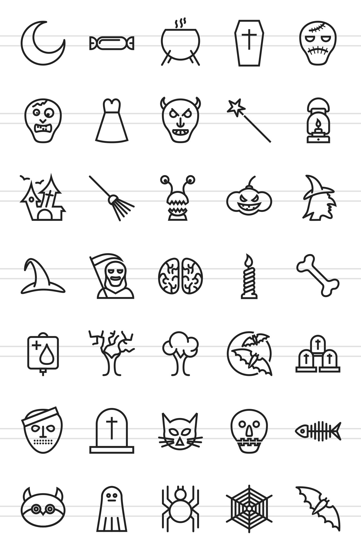 35 Halloween Line Icons example image 2