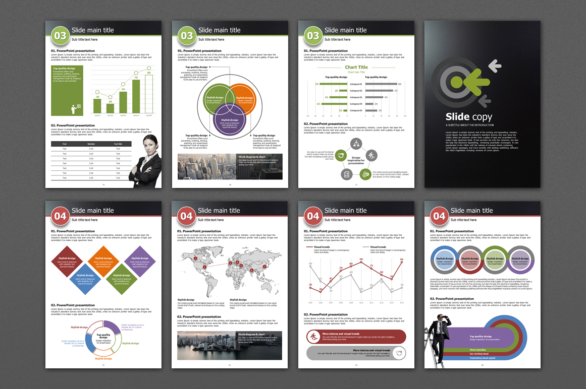 Five Color Powerpoint Template Vertical example image 4