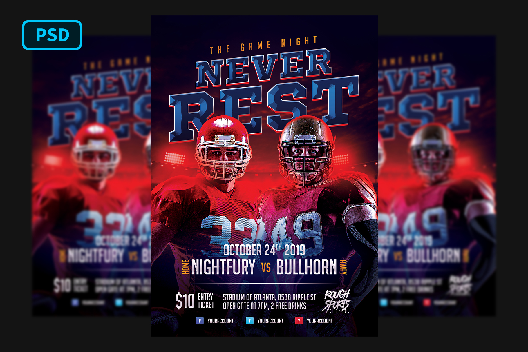 Football Game Flyer Template example image 1