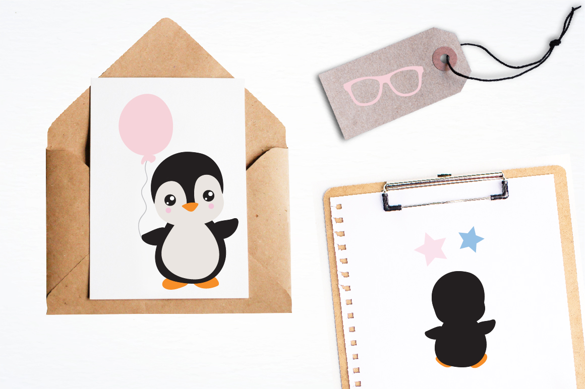 Gender Reveal Penguins graphics and illustrations example image 4