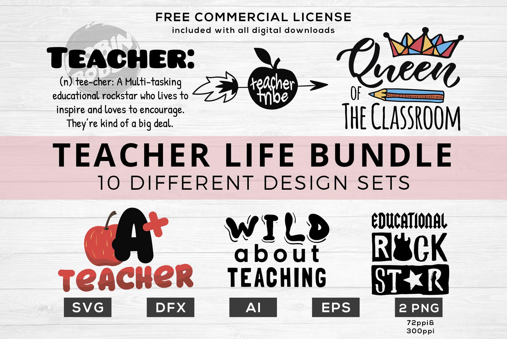 Teacher Life Bundle - Funny Teacher Quotes SVG Files example image 1