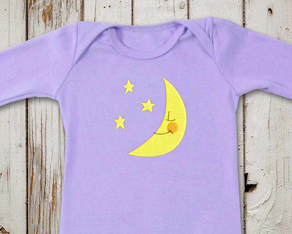 Moon and Stars Embroidery Design example image 1