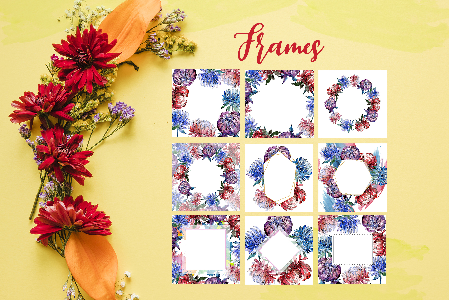 Autumn Asters Watercolor png example image 5