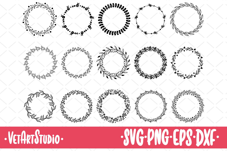 15 Round frames, circle floral frame SVG, laurel wreath example image 1