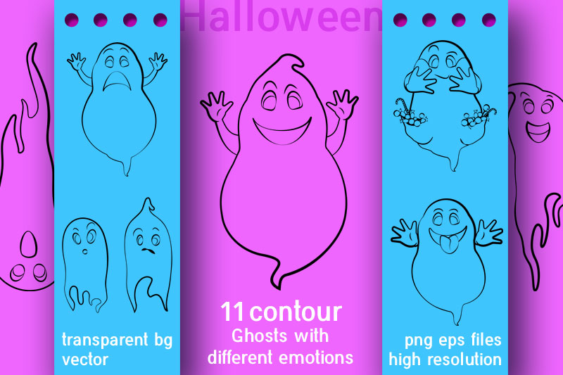 Ghosts outline vector set for halloween decoration. example image 1