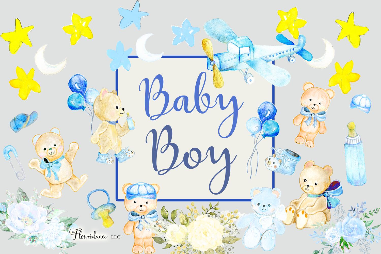 Watercolor Baby Boy Clipart example image 3