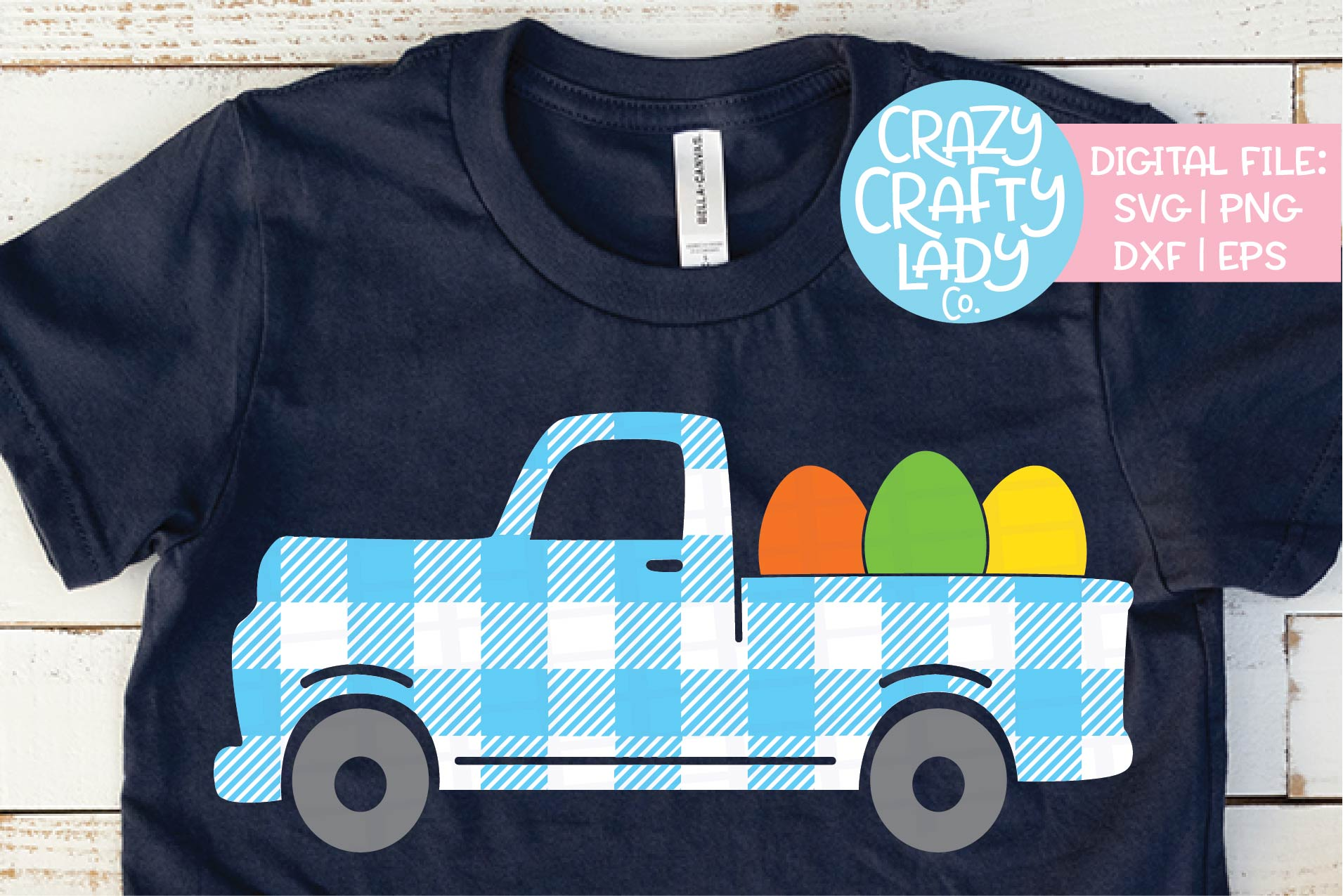 Gingham Easter Egg Truck Plaid SVG DXF EPS PNG Cut File example image 1