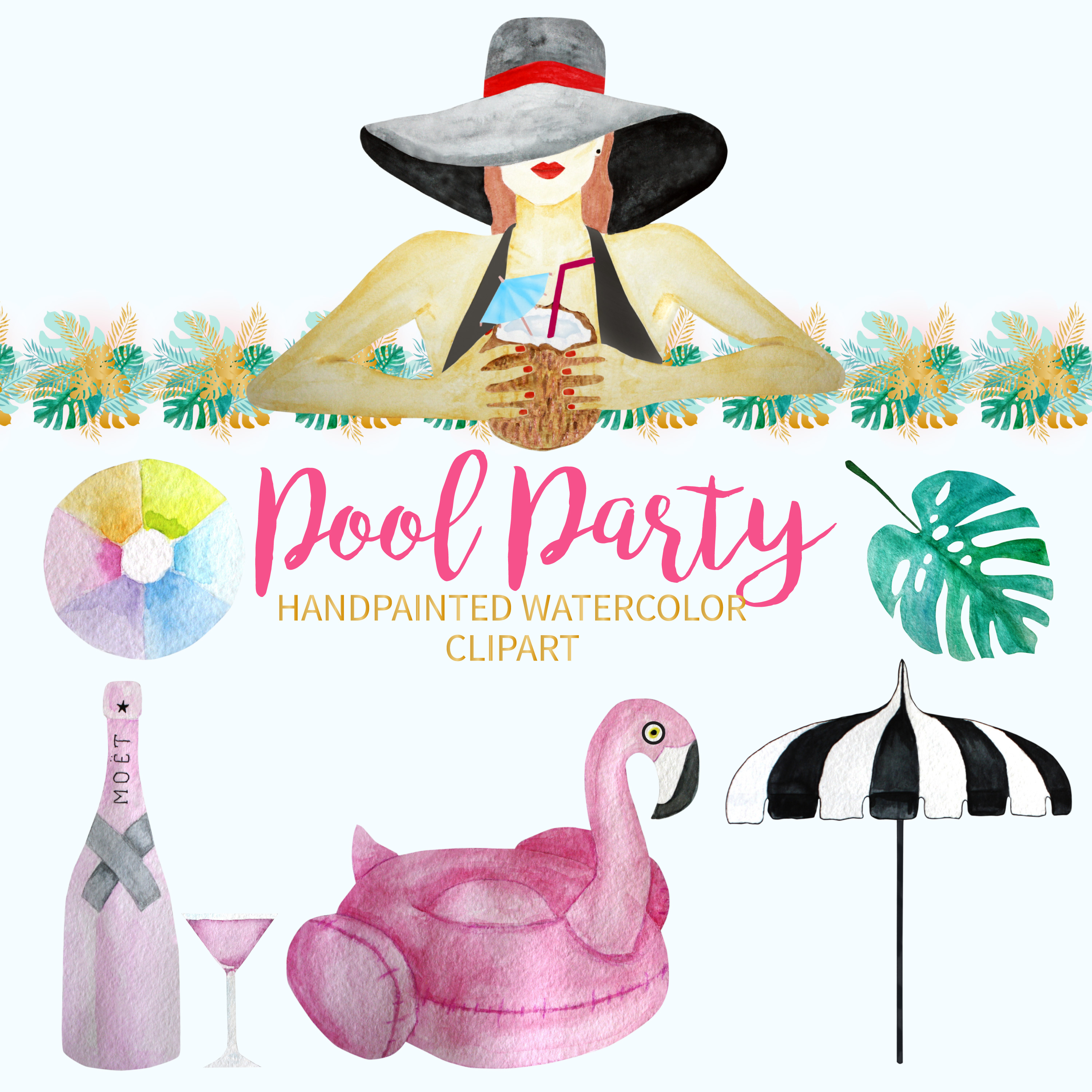 Pool Party Watercolor Clipart example image 3