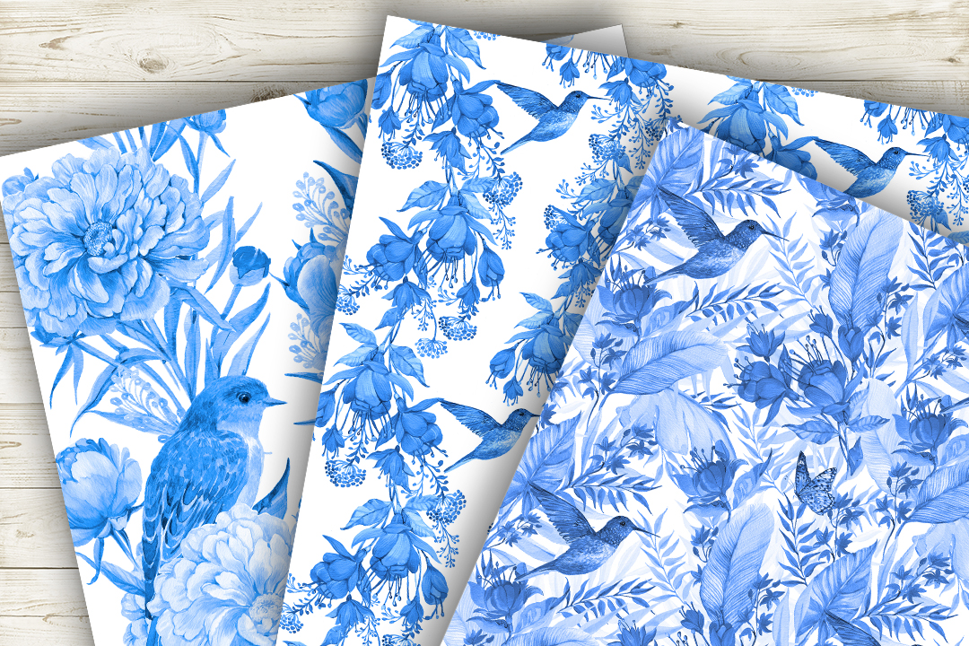 Feathers,Seamless patterns.Watercolor patterns . example image 2
