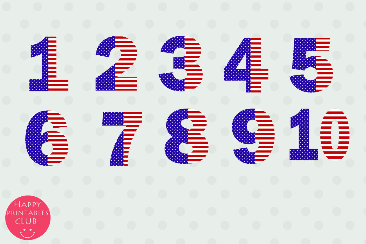 July 4 Stars and Stripes Alphabets Numbers Clipart Graphics example image 3