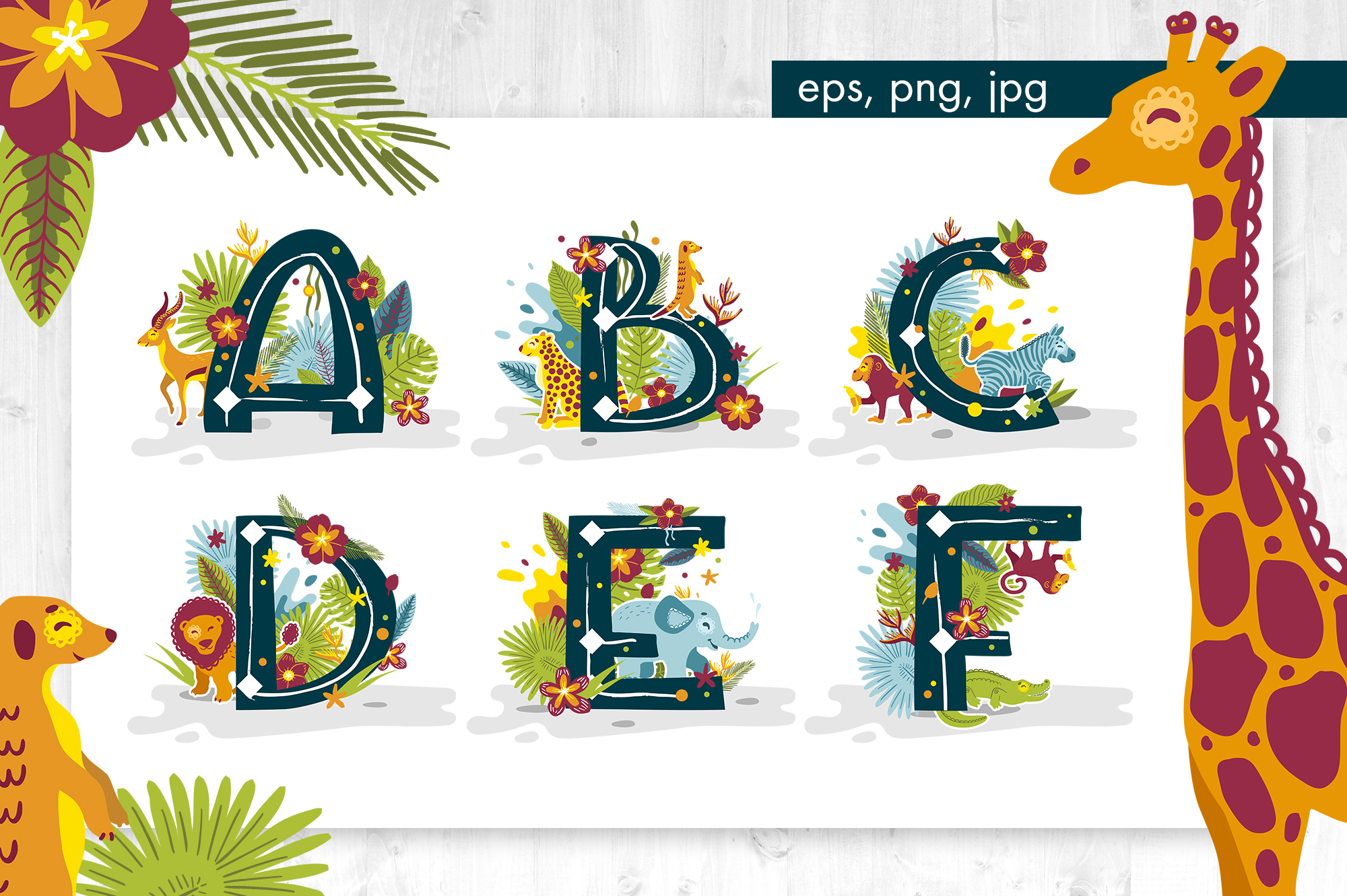 Tropical alphabet cartoon animals vector example image 2
