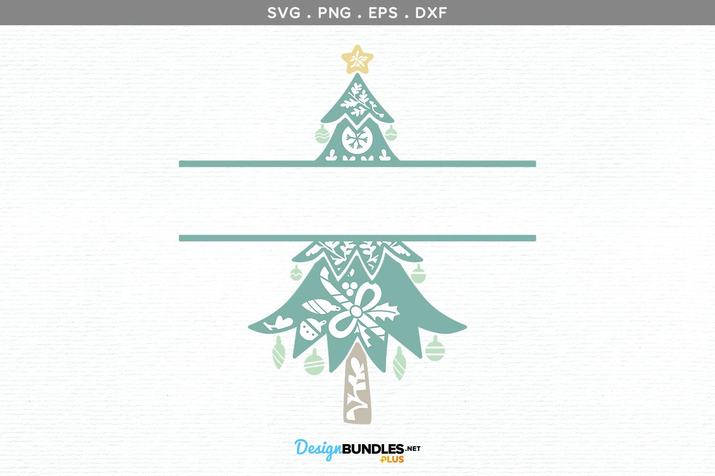 Christmas Tree split monogram - svg, printable example image 2