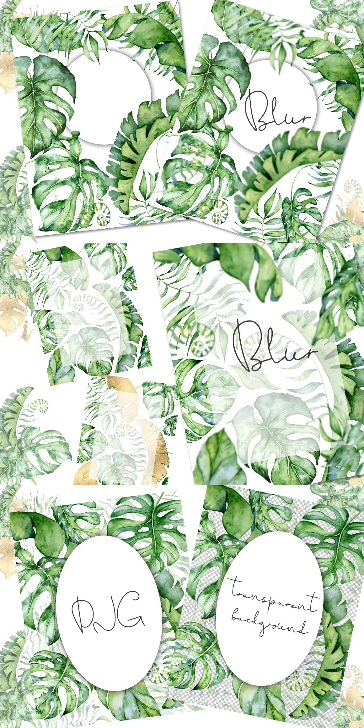Mistery Monstera - tropical leaves watercolor illustration example image 29