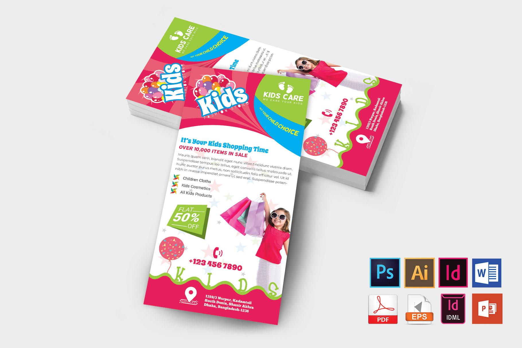 Rack Card | Kids Fashion DL Flyer Vol-01 example image 2
