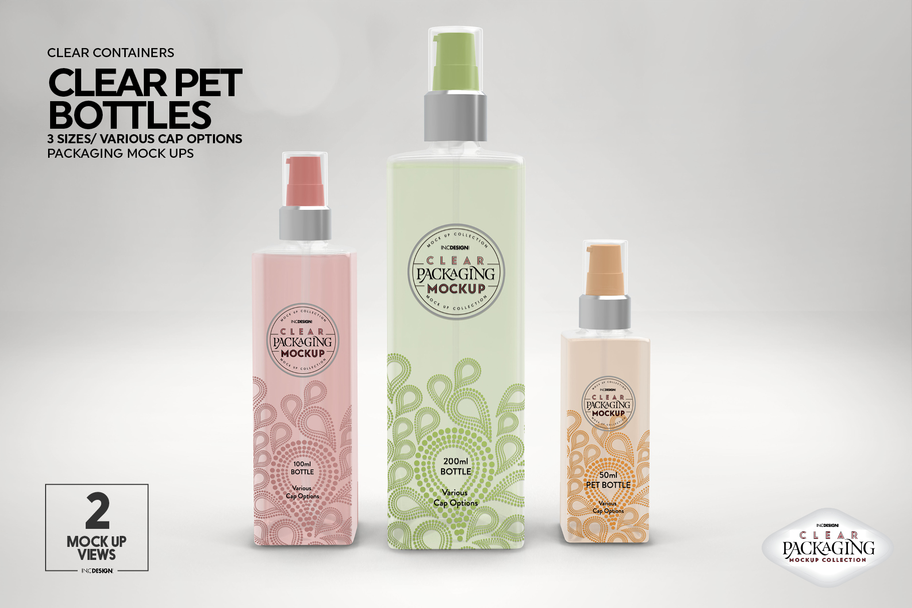Clear Squared PET 3Bottles Packaging Mockup example image 4