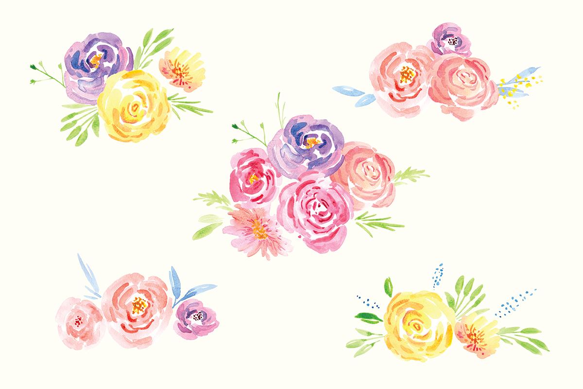 Delicate Flower Watercolor Clip Art example image 3