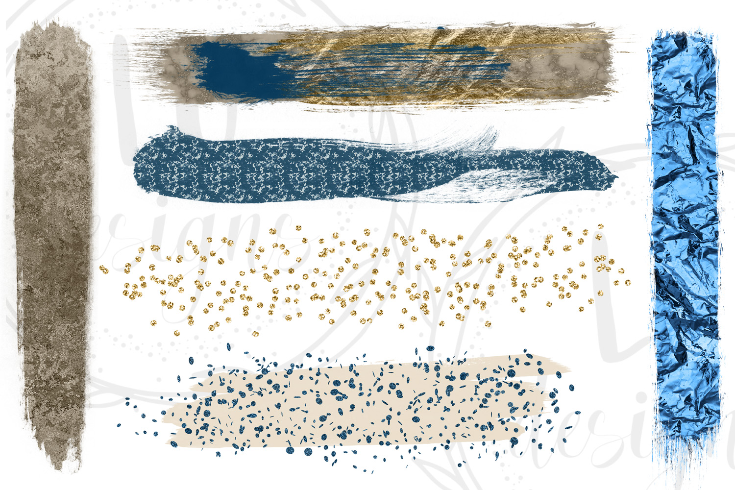 Gold, Silver, and Navy Blue Brush Strokes example image 3