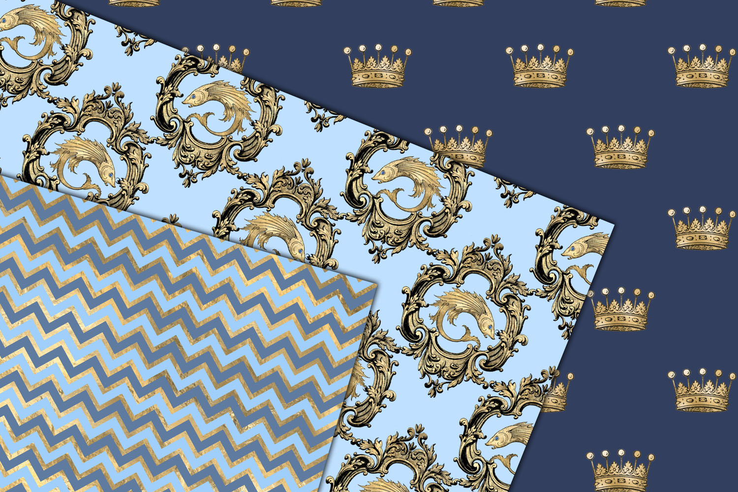 Blue and Gold Mermaid Digital Paper example image 3