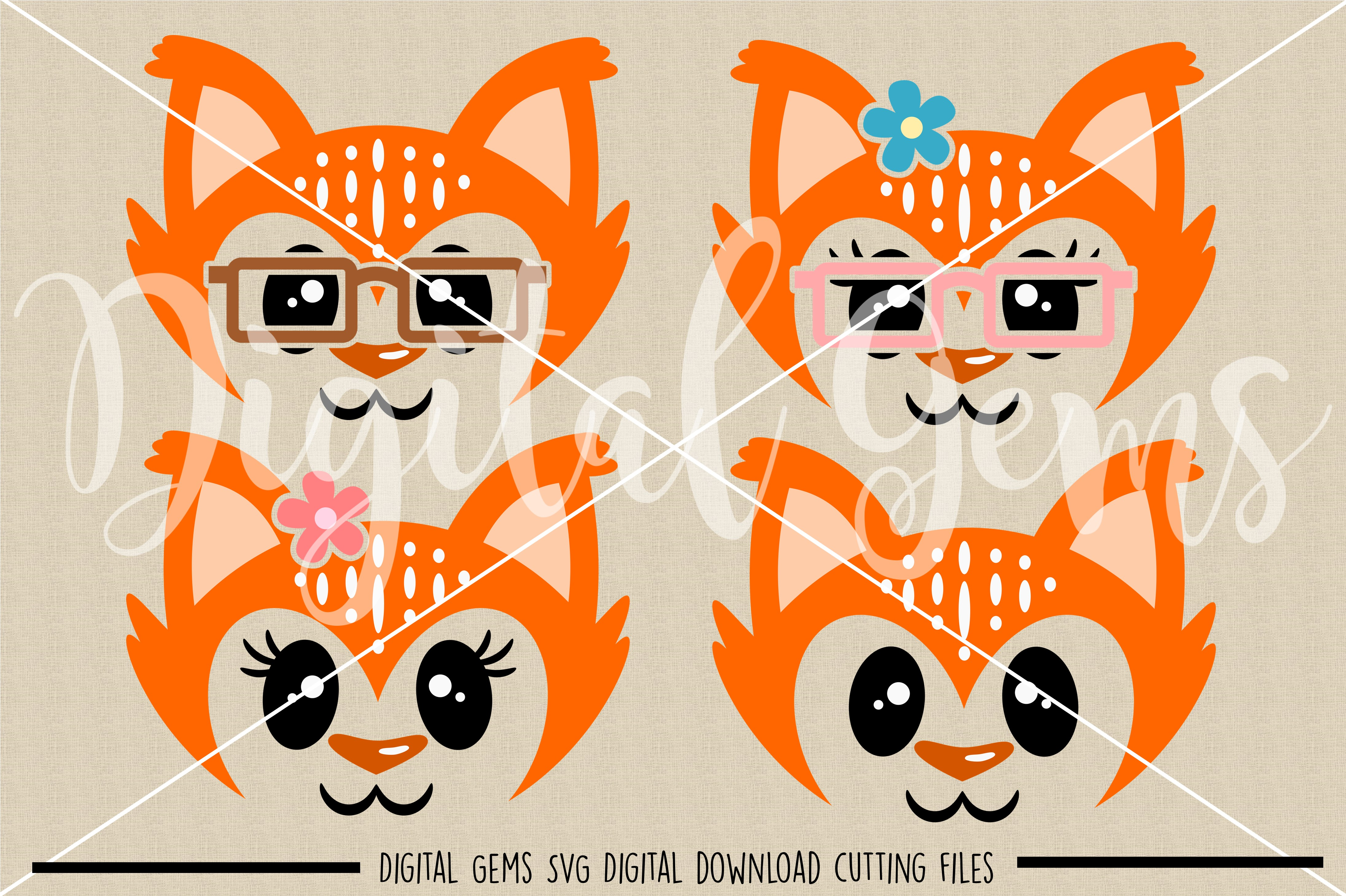 Fox faces SVG / PNG / EPS / DXF Files example image 2