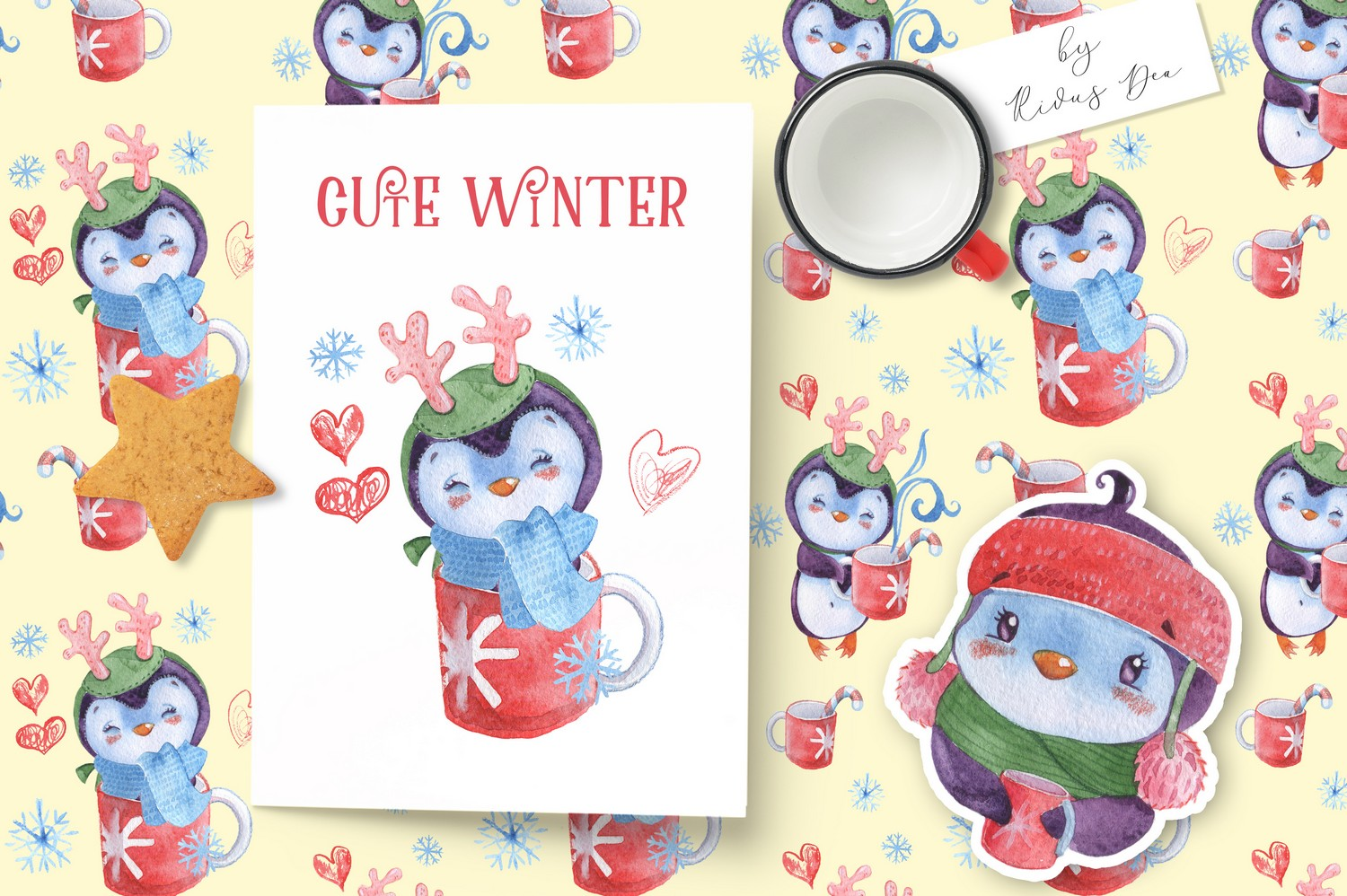 Christmas Penguins watercolor CLIPARTS, DIGITAL PAPERS example image 10