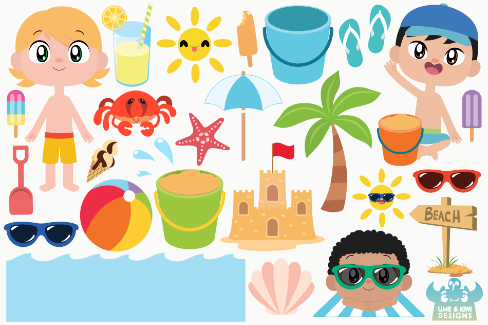Beach Party Boys Clipart, Instant Download Vector Art example image 2