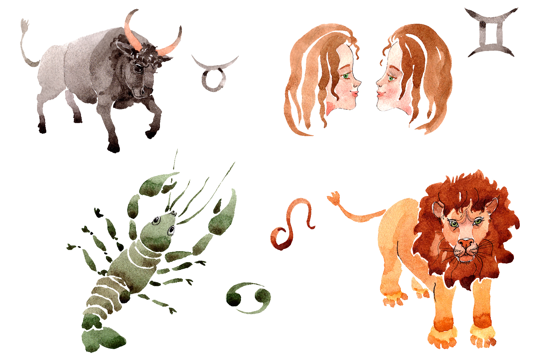 Horoscope Watercolor png example image 1