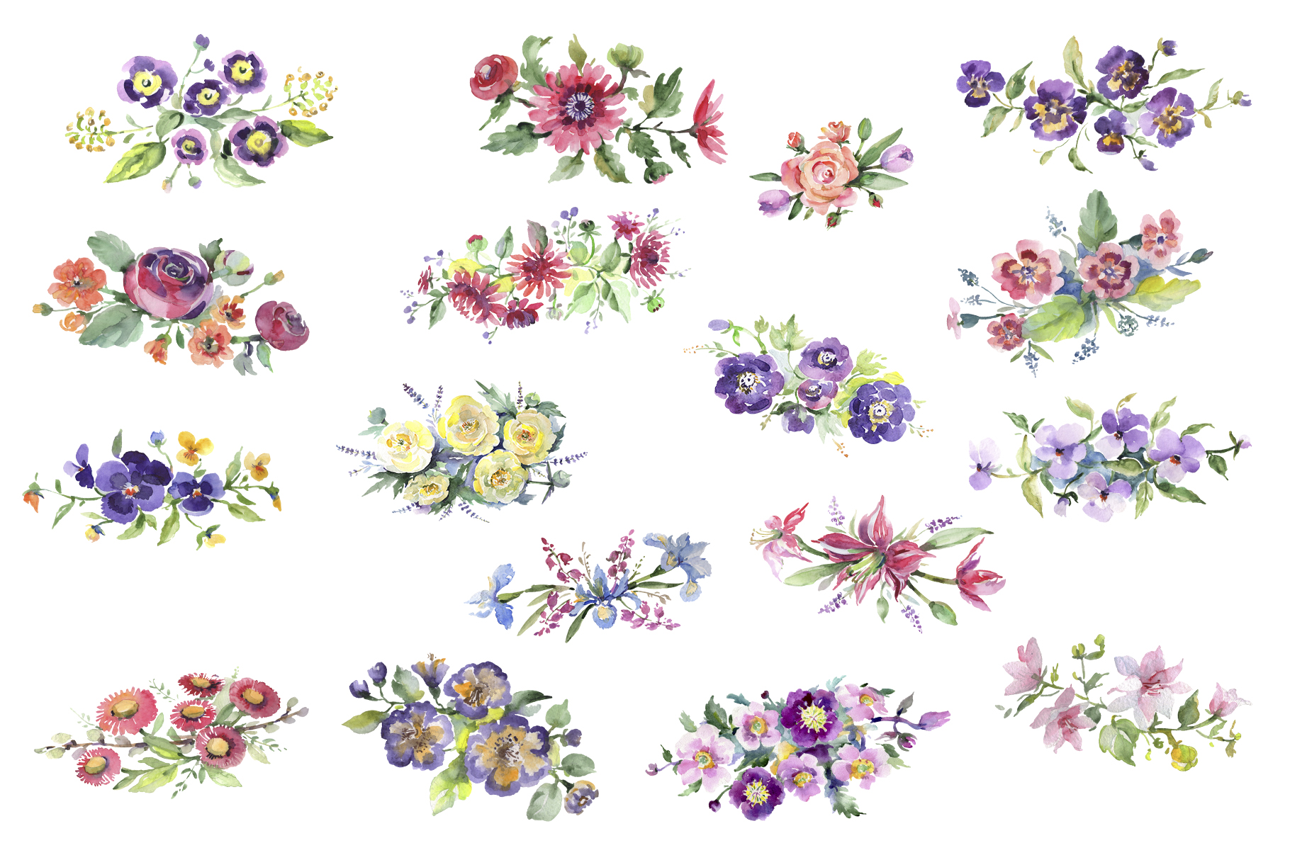 Bright bouquet of watercolor flowers png example image 2