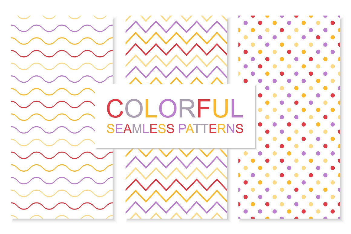 Colorful simple seamless patterns example image 1