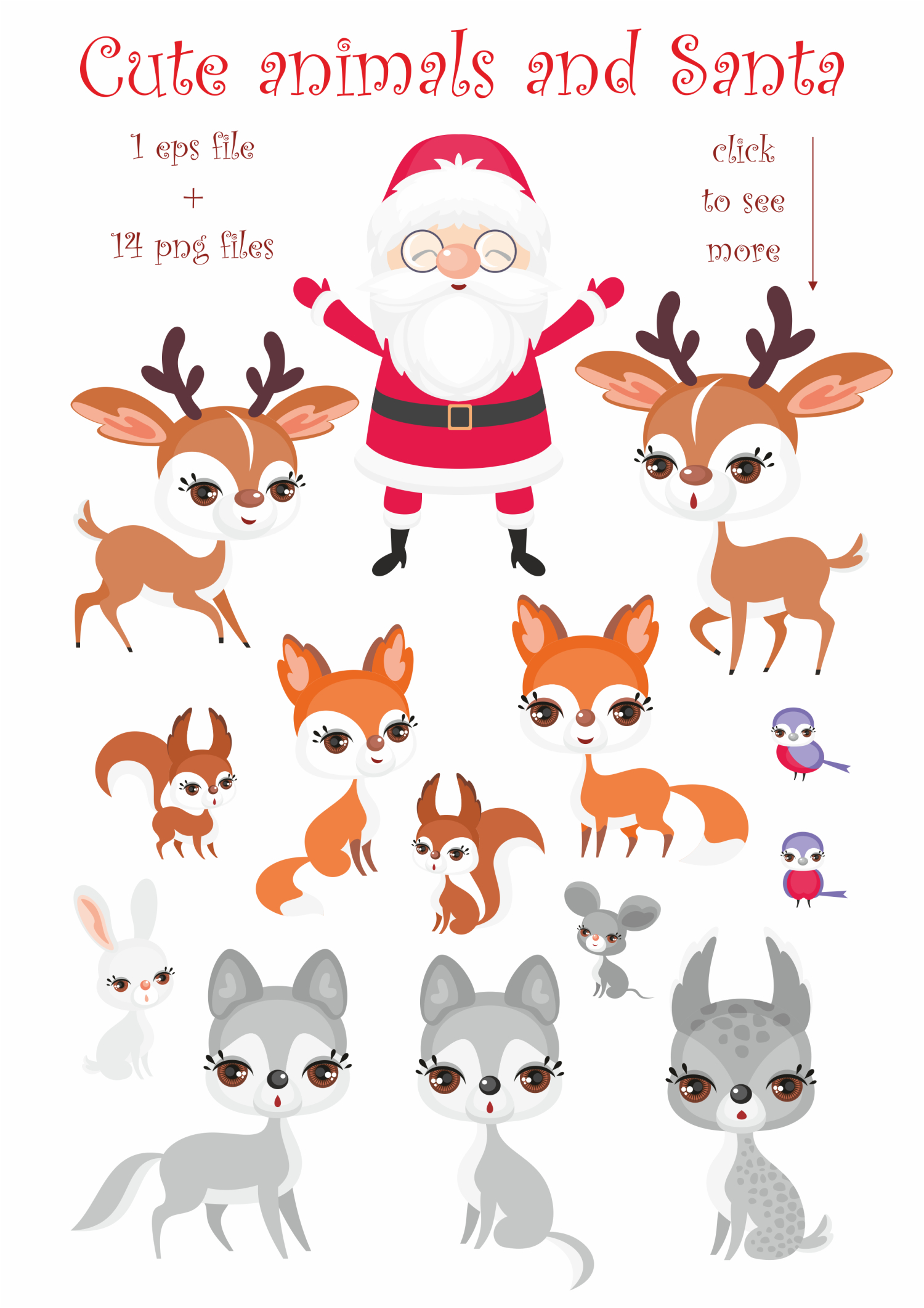 Christmas collection. Cute animals and Santa. example image 2