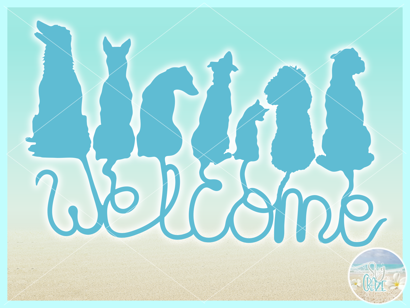 Dogs Welcome Coir Door Mat Design Svg Dxf Eps Png Pdf Files example image 3