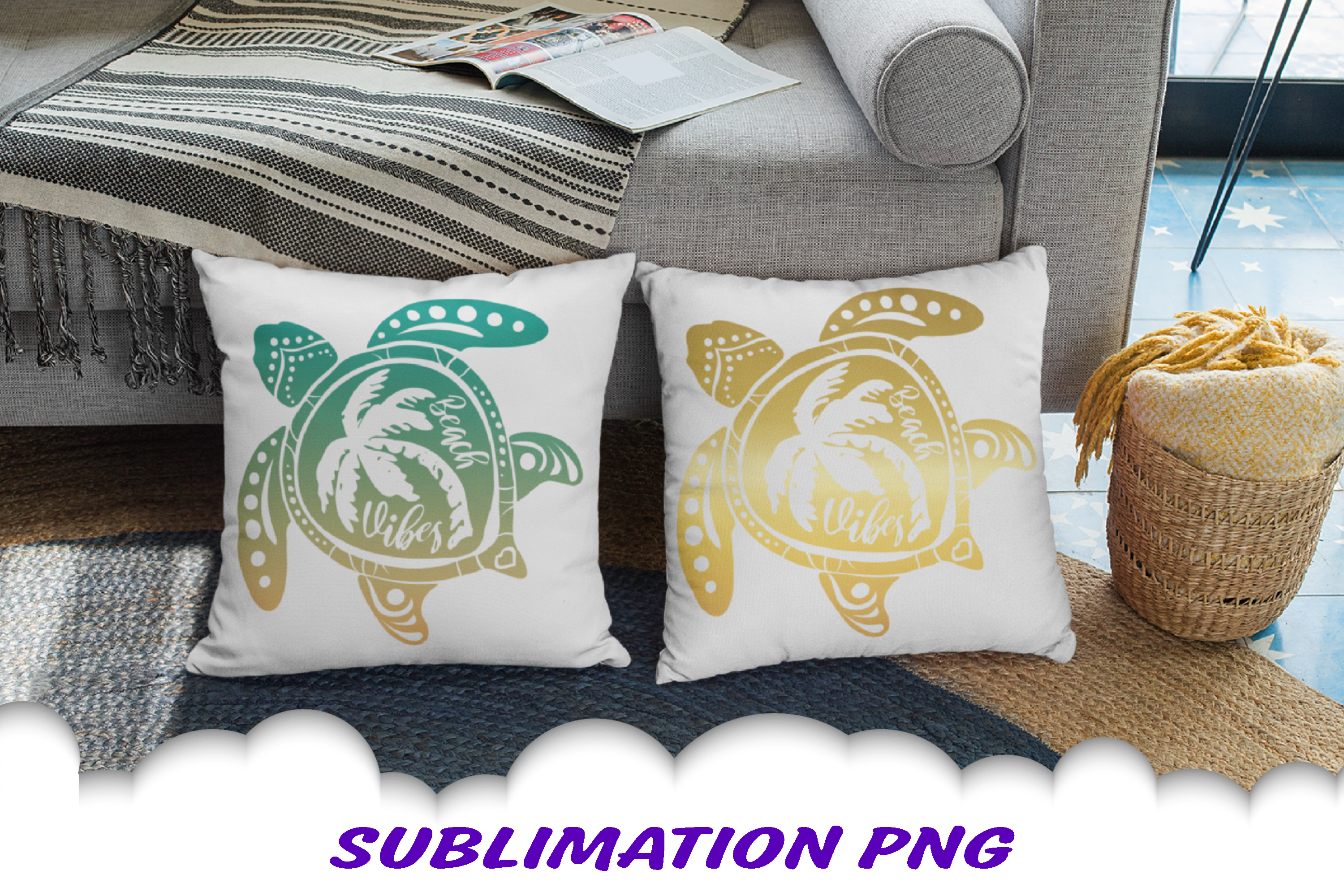 Sea Turtle Palm Beach Vibes Sublimation PNG Bundle example image 3
