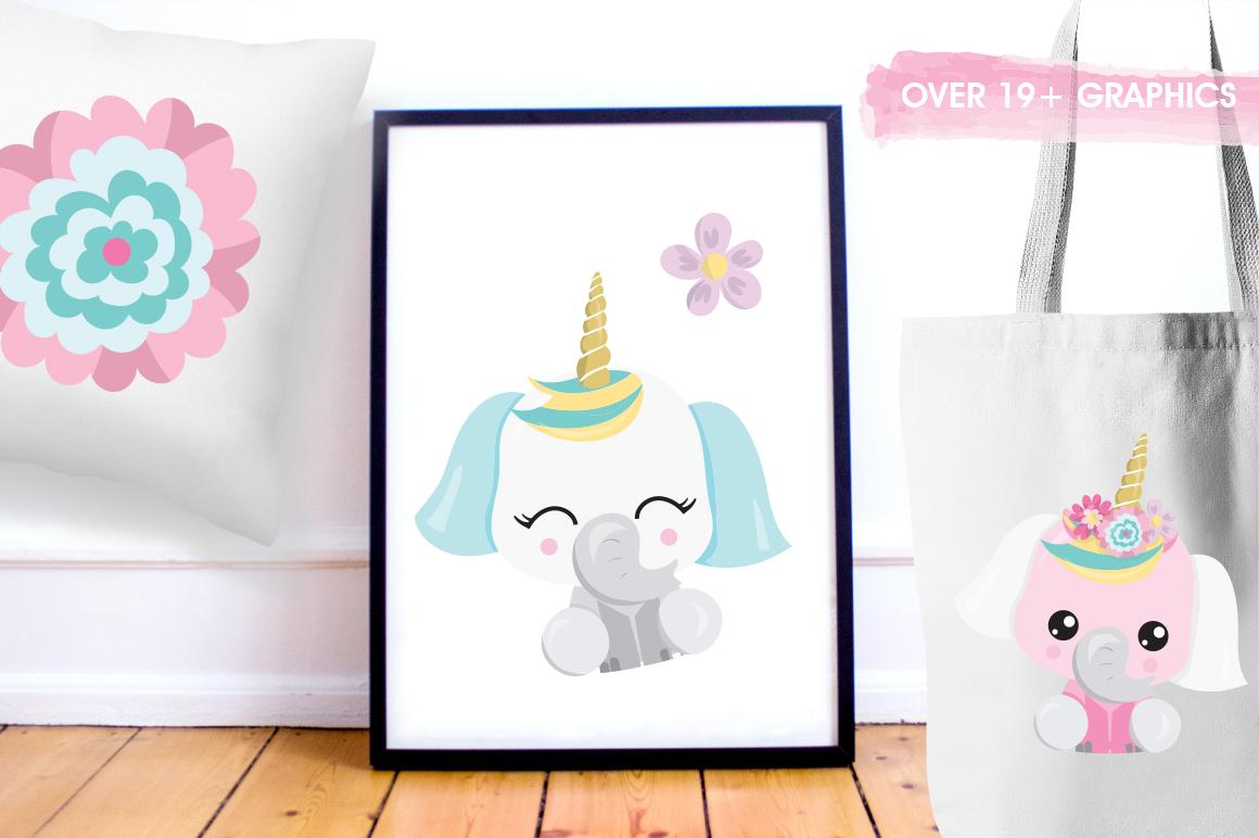 Elephant Unicorn graphic and illustrations example image 3