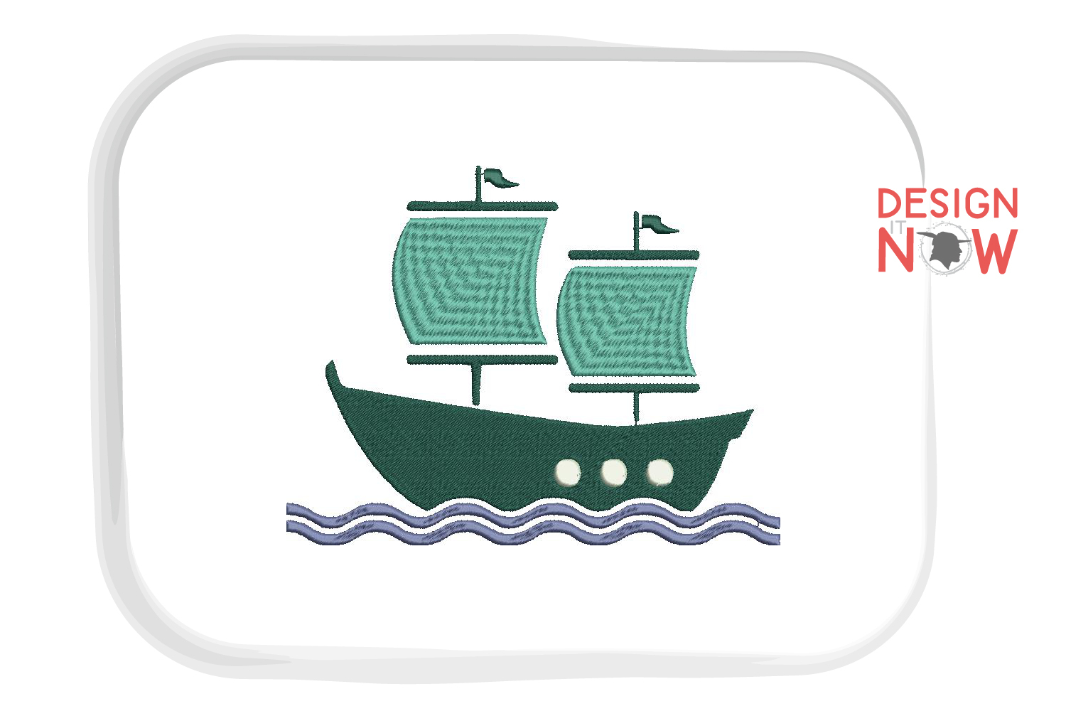 Boat Embroidery Design, Sailing Ship Embroidery Pattern, Sea example image 3