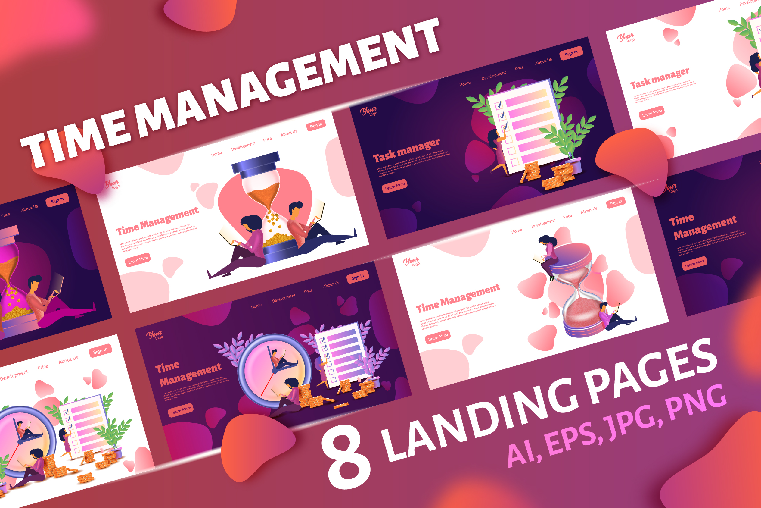 Time management. Landing page headers example image 1