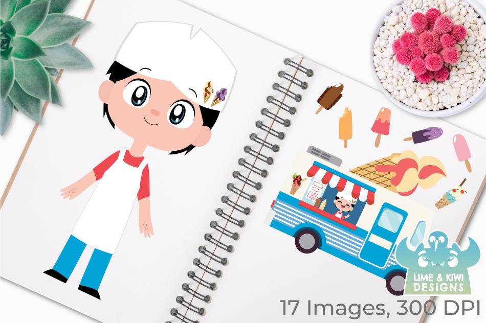 Icecream Van Blue Clipart, Instant Download Vector Art example image 3