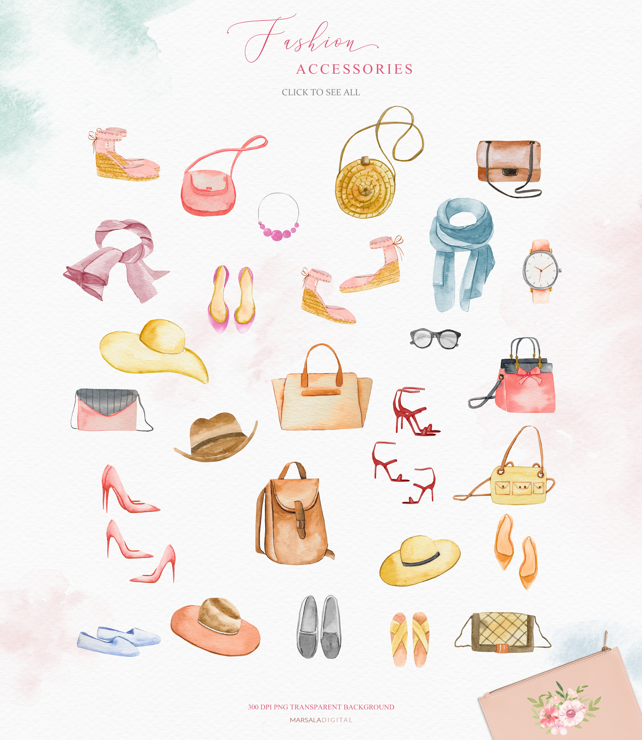 Fashion Watercolor Clipart, Bag, Shoes, Dress, Clothes example image 5