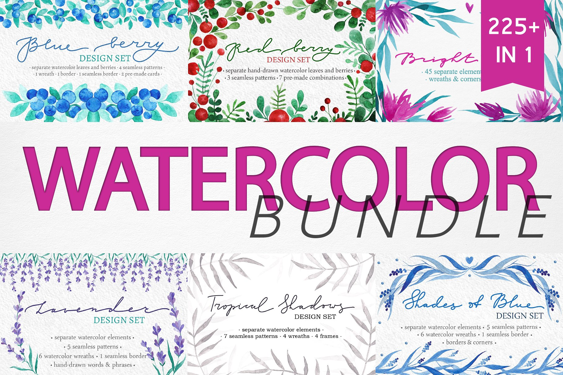 WATERCOLOR BUNDLE - 6 Projects in 1 example image 1