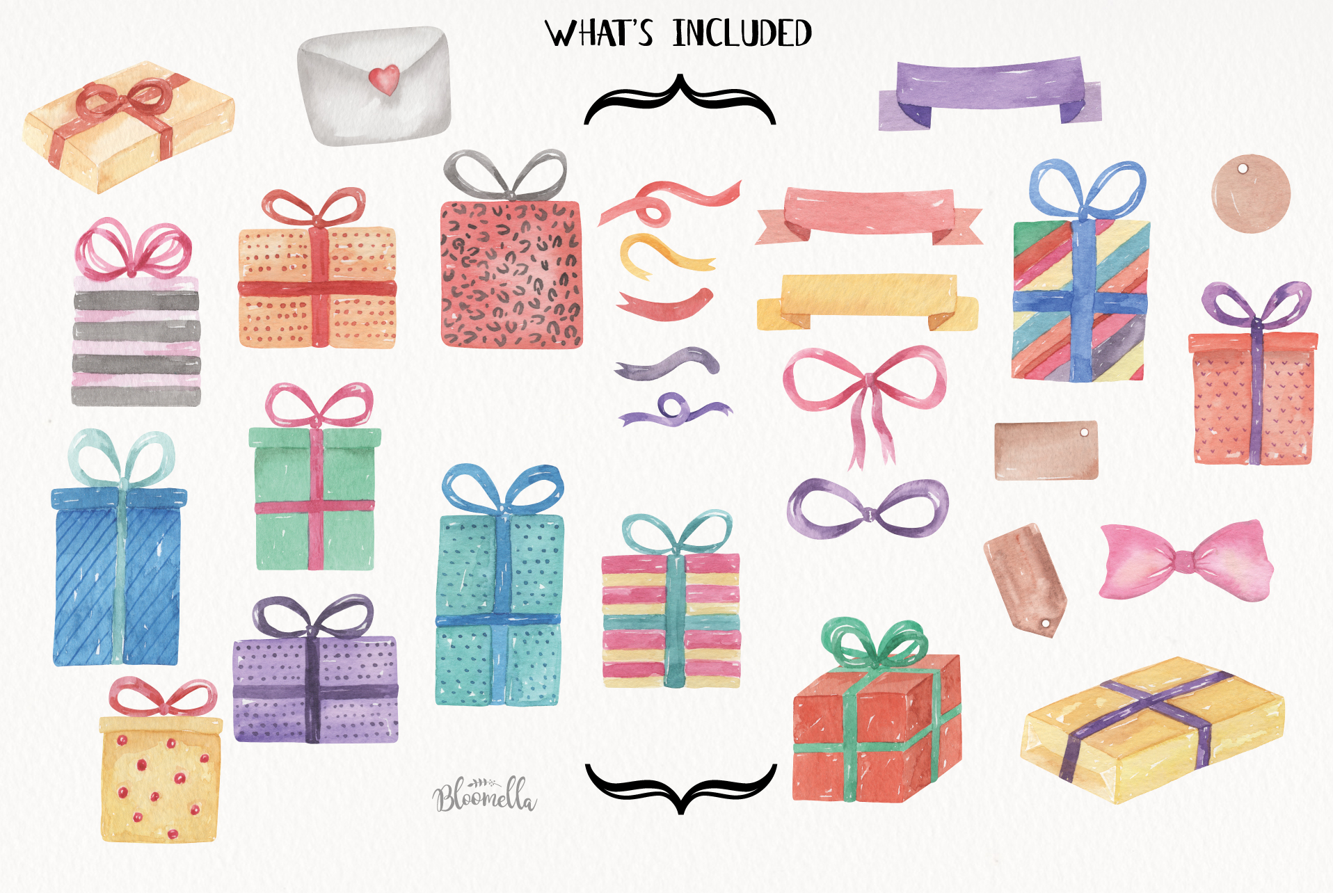 Watercolor Presents Gifts Clipart Elements Tags Banners Bows example image 8