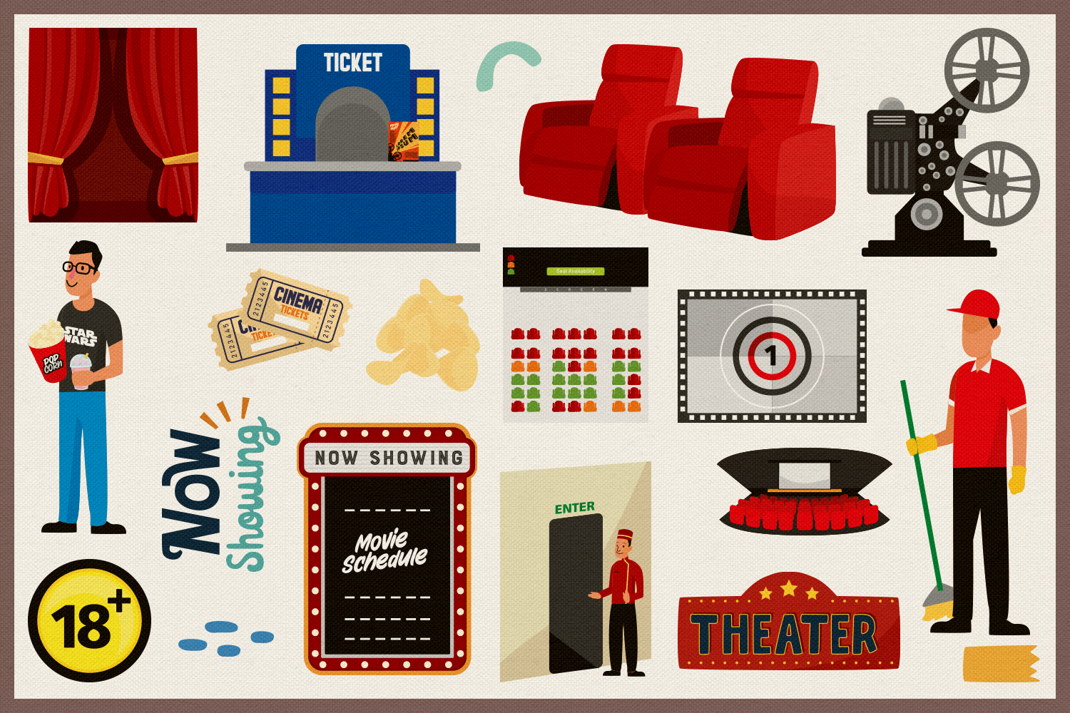 Movie & Cinema Vector Clipart and Seamless Patterns example image 4