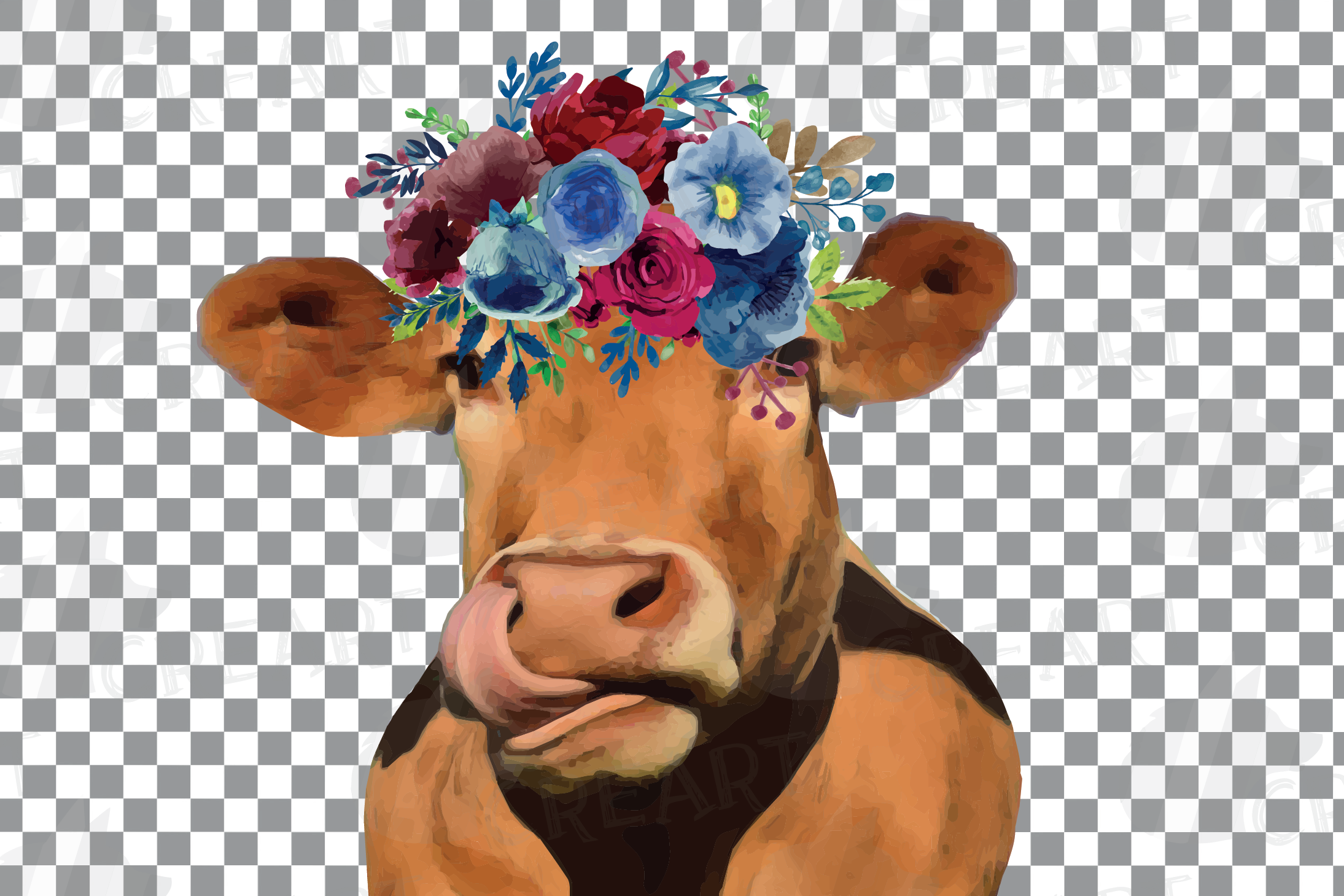 Floral cow printable gift graphic. Farmhouse wall decoration example image 6
