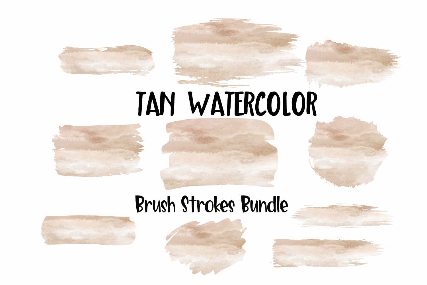 Tan Watercolor Brush Strokes Background Bundle PNG example image 1